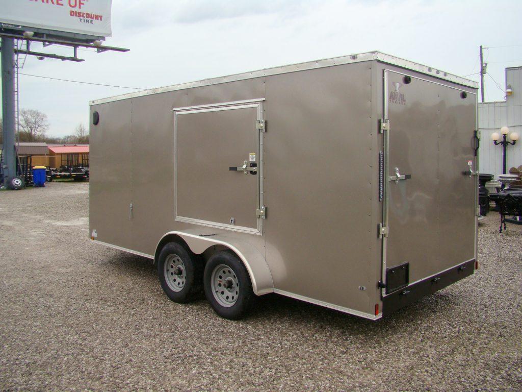 small enlosed trailer with escape door