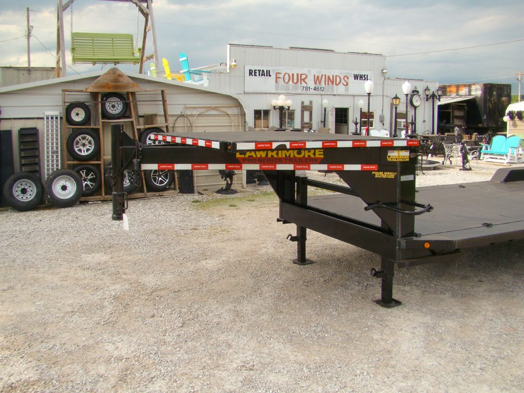 gooseneck flatbed trailer with 14k ramps